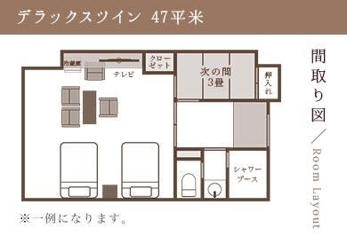 間取り図/Room Layout デラックスツイン 47平米