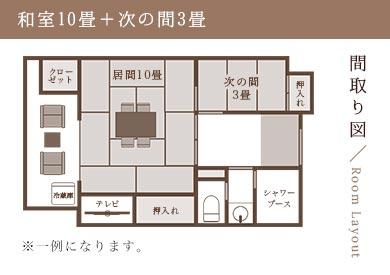 間取り図/Room Layout 和室10畳+次の間3畳